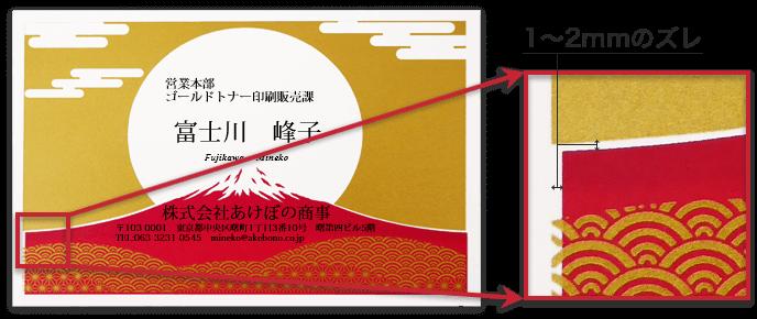 ゴールド・クリアトナー印刷における1~2mmのズレのサンプル