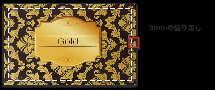 ゴールド・クリアトナー印刷における裁ち落としデザインのサンプル